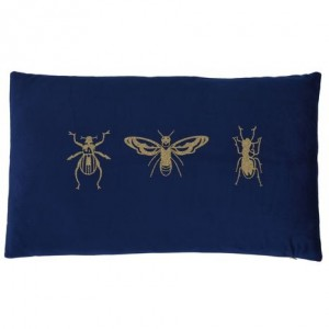 Vankúš s obliečkou tmavou modrou a zlatým hmyzom 33832