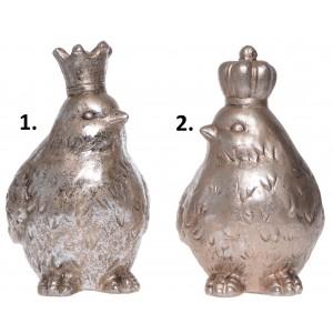 Vianočná dekorácia keramický zlatý vták s korunou v dvoch variantoch 16,5 x 10,5 x 17,5 cm 35561