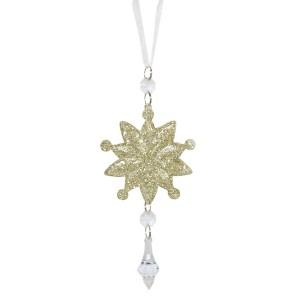 Vianočná ozdoba na zavesenie zlatá v tvare hviezdy s trblietkami 7,5 x 18 cm 35572