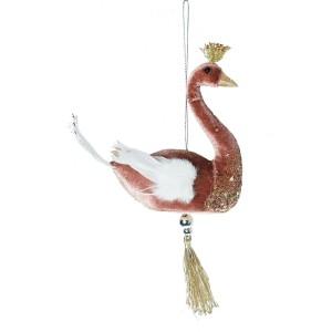 Vianočná visiaca ozdoba ružovej velúrovej labute s korunkou a strapcom 11 x 5 x 10 cm 35551