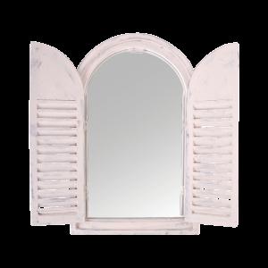 Vintage zrkadlo vo drevenej okenici s francúzskymi dvierkami Esschert design 35049