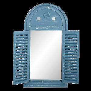 Vintage zrkadlo vo drevenej okenici s francúzskymi dvierkami v modrej farbe Esschert design 35053