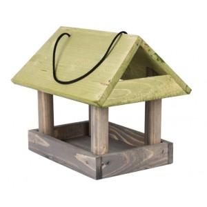 Vtáčia drevená búdka so zelenou strechou 34538