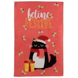 Utierka na riad - vzor Mačka, vianoce PUCKATOR 29207