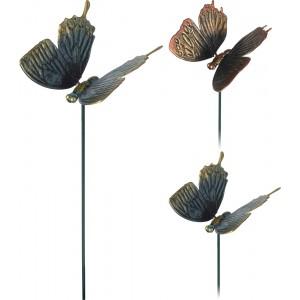 Záhradná dekorácia - napichovačka do zeme alebo do kvetináča v tvare motýľa modro hnedý alebo ružovo hnedý 40 cm 33436
