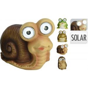 Záhradné solárne osvetlenie v tvare zvieratka - žaba, korytnačka, slimák alebo ježko 11 x 9,5 x 12 cm 33419