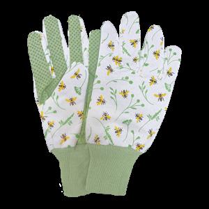 Záhradnícke rukavice s potlačou včely bielo-zelené Esschert design 34794