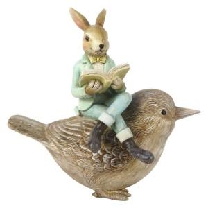Zajačik v zelenom obleku s knižkou v rukách sediaci na vtáčikovi z polyresinu 18x10x17 cm Clayre-Eef 33299