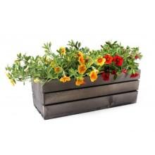 Drevený truhlík sivý na kvety a bylinky 34537