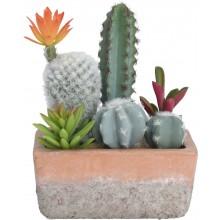 Kompozícia rôznych umelých kaktusov v terakotovom kvetiná...