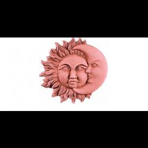 Terakotová dekorácia na stenu slnko s mesiacom ako zatmenie 35 cm 34951