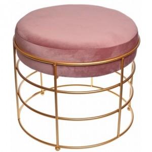 Semišový ružový puf okrúhli so zlatou konštrukciou  35x35x33 cm 32426