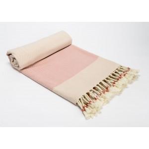 Deka ružovo-biela, bavlna 170x130cm 32097
