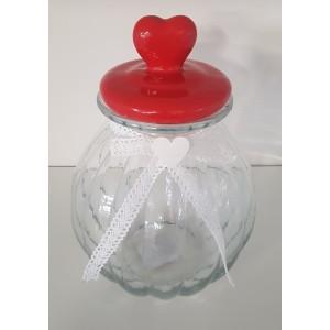 Dóza sklenená s vrchnákom - červené srdce 29481