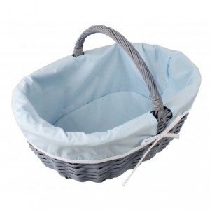 Košík prútený s látkou - modrý 32192