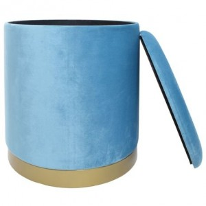 Semišový modrý puf okrúhli so zlatým lemom 40x40x45 cm 32427