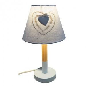 Lampa drevená modrá so srdiečkom a tienidlom 33 cm 32408