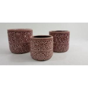 Kvetináč keramický bordový 13x12cm 25799