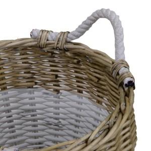 Košík prútený s dvoma rúčkami prírodná a biela 29112