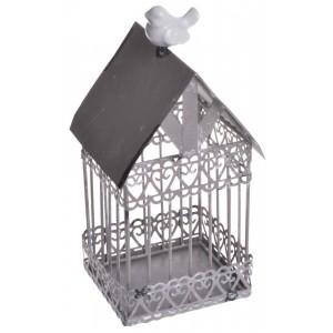Domček s vtáčikom - kovový, béžový