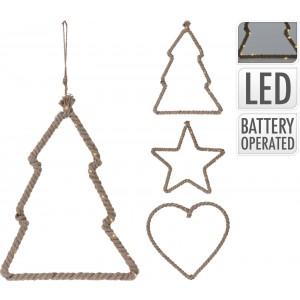 Osvetlenie 15 LED, špagát - srdce, hviezda, stromček 32050