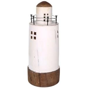Maják drevený, biely výška 30cm 31592