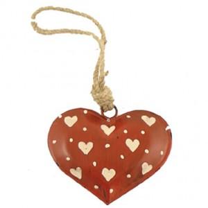 Srdce kovové červeno biele 8,5x7cm 26056