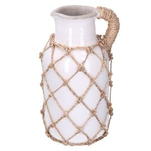 Váza keramická, biela - sieťka 31622