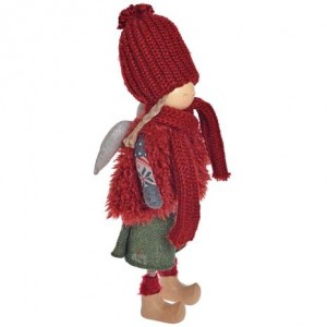 Anjel dievča bordó stojace textilné 50 cm 32392