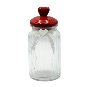 Dóza sklenená s červeným vrchnákom - srdce 29479