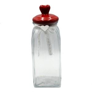 Dóza sklenená s červeným vrchnákom - srdce 29480