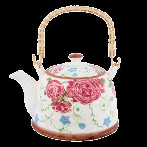 Keramický čajník zdobený kvietkami 0,7 L Clayre-Eef 29222