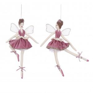 Balerína v ružových šatách z textilu 34155