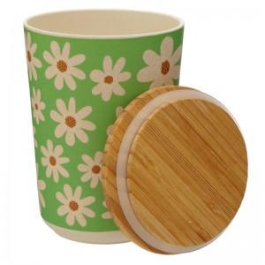 Bambusová dóza zelená s margarétkami a s viečkom Puckator 34654