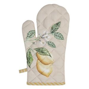 Bavlnená béžová chňapka so žlto bielym lemom a s dekorom citrónového konára 16x30 cm Clayre-Eef 33330