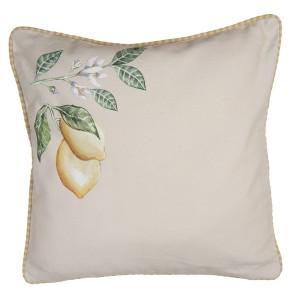 Bavlnená béžová obliečka na vankúš so žlto bielym lemom a s dekorom citrónového konára 40x40  cm Clayre-Eef 33326