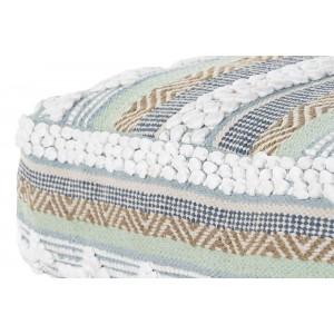 Bavlnená modro-bielo-mentolová taburetka na zem s pásikmi a bielymi bombuľkami 60 x 60 x 25 cm 35343