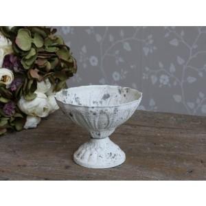 Biela kovová miska na stopke v patine s obitým vintage vzhľadom Chic Antique 34818