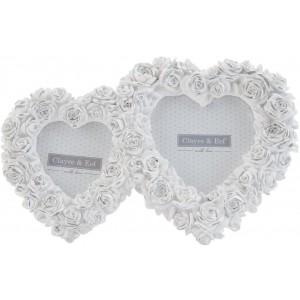 Biely fotorám zdobený ružičkami dve spojené srdiečka 24x2x16 cm Clayre-Eef 23228