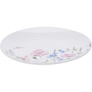 Biely porcelánový tanierik s kvetinovým motívom a s vážkou 33385