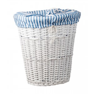 Biely prútený košík s textilnou modrou bielou vložkou 49x37xv54 cm 32920
