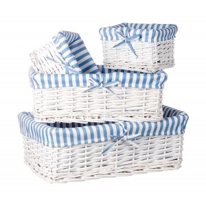 Biely prútený košík veľký s textilnou modrou bielou vložkou 45,5x30x15,5 cm 32923