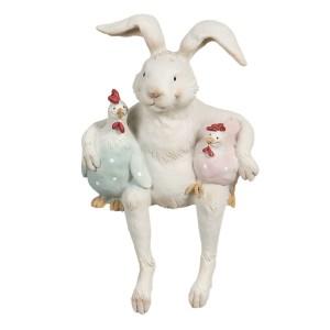 Biely sediaci zajac s dvoma sliepkami z polyresinu 11x10x19 cm Clayre-Eef 33257