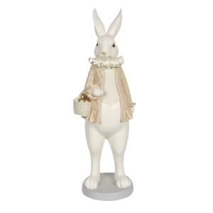 Biely zajac dievča v krémovom kabáte s košíkom z polyresinu Clayre-Eef 17x15x53 cm 33252