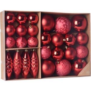 Vianočné ozdoby červené sada 31ks 25108