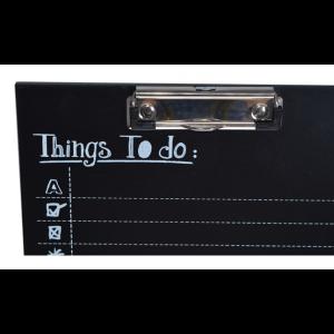 Čierna drevená podložka na písanie s klipom na udržanie papiera 24 x 1 x 30 cm 35487