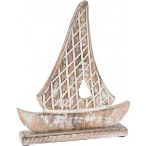 Dekoratívna drevená loď z mangového dreva vo vidieckom štýle 27 x 6 x 33 cm 35069