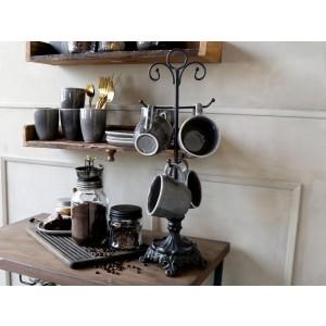 Dekoratívny stojan čierny kovový na poháre vo vintage štýle Chic Antique 34816