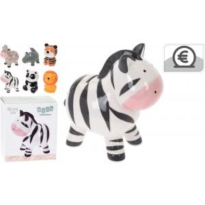 Detská keramická pokladnička v tvare zvieratka - žirafa, krokodíl, tiger, zebra, panda alebo lev cca 17 cm 33435