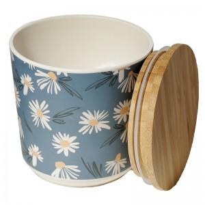Dóza bambusová modrá s kvietkami margarétkami Puckator 34660